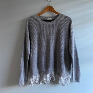 UO Silence & Noice Grey Sweater with Lace Bottom